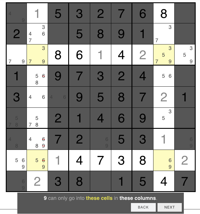 sudoku with X-wing hint