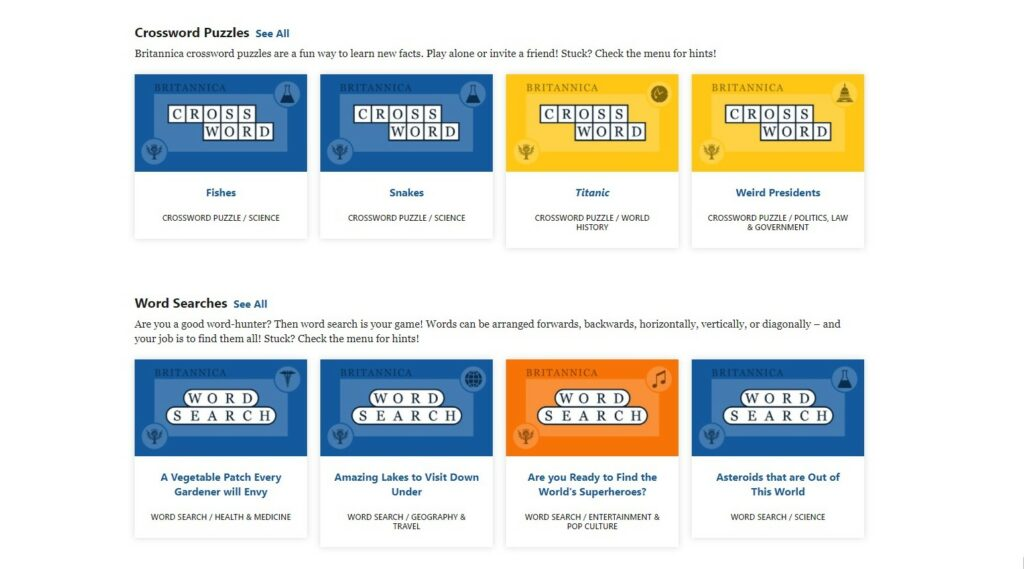 Crossword and word search puzzles created by Encyclopedia Britannica using PuzzleMe platform